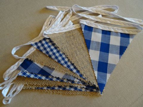BUNTING - Hessian & Small & Large Blue Gingham  - 3m/10ft